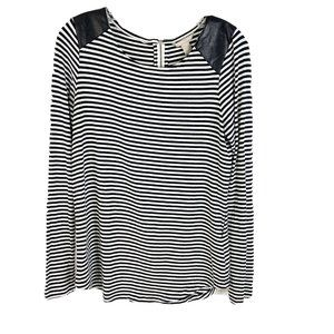 Banana Republic Striped Faux Leather Shirt Top M